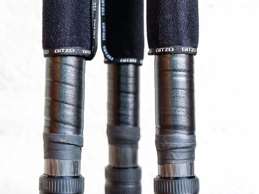 Gitzo Detail: Lenkerband und Neoprenhüllen