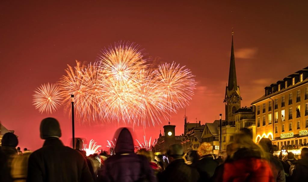 Fireworks in Zurich New Year
